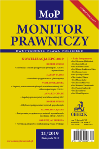Monitor Prawniczy Nr 21/2019 + dodatek specjalny: Prawo nowych technologii