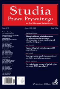 Studia Prawa Prywatnego. Zeszyt 1/2020