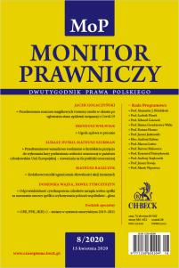 Monitor Prawniczy Nr 8/2020 + dodatek specjalny: