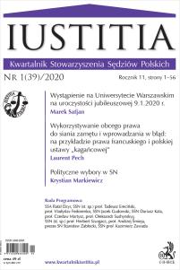 Iustitia. Kwartalnik Stowarzyszenia Sędziów Polskich Nr 1(39)/2020