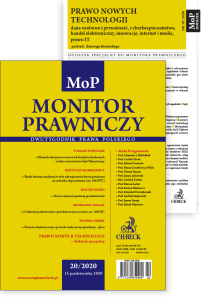 Monitor Prawniczy Nr 20/2020 + dodatek specjalny: Prawo nowych technologii