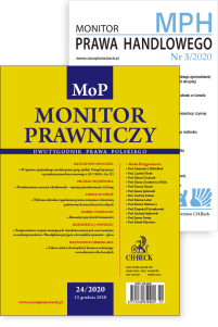 Monitor Prawniczy Nr 24/2020 + dodatek: Monitor Prawa Handlowego Nr 3/2020