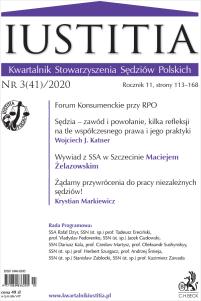 Iustitia. Kwartalnik Stowarzyszenia Sędziów Polskich Nr 3(41)/2020