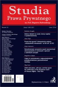 Studia Prawa Prywatnego. Zeszyt 1/2021
