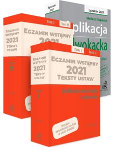 PAKIET: Aplikacja adwokacka 2021 + Teksty ustaw na egzamin wstępny 2021. Tom I-II